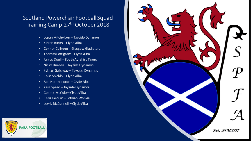 Scotland Powerchair Football Squad Oct 27