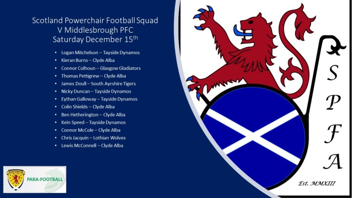 Scotland Powerchair Football Squad Dec 15
