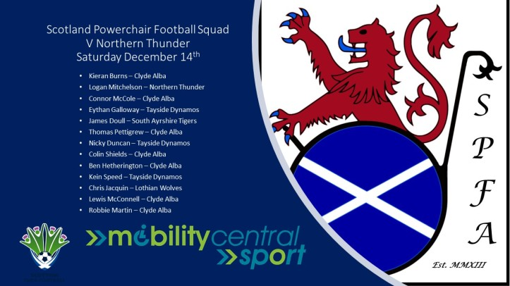 Scotland Powerchair Football Squad Northern Thunder